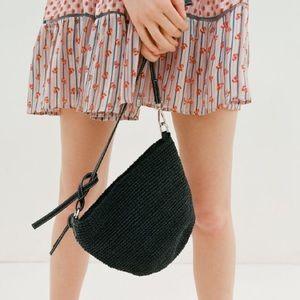 Urban Outfitters straw crossbody bag, black.